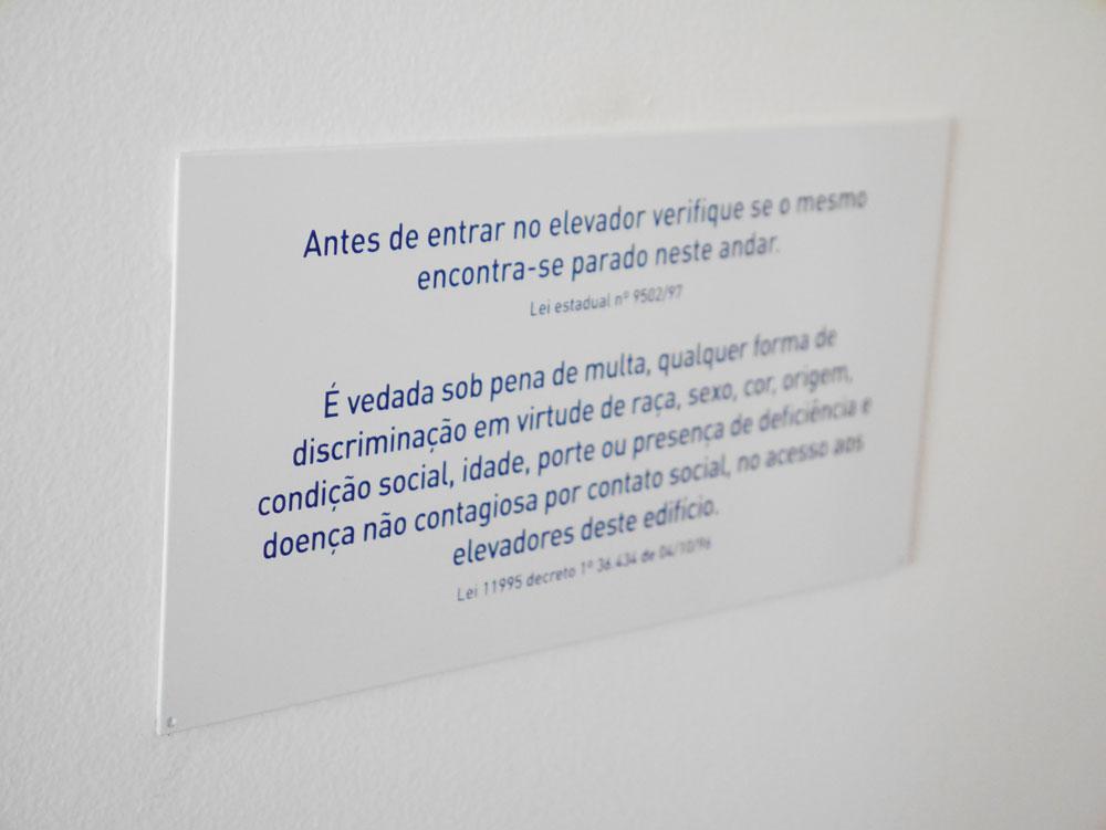 Placa Aviso de elevador